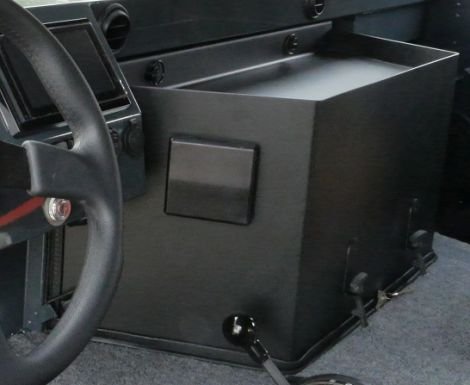 Closeup of humvee engine cover (dog house) for Duramax conversion